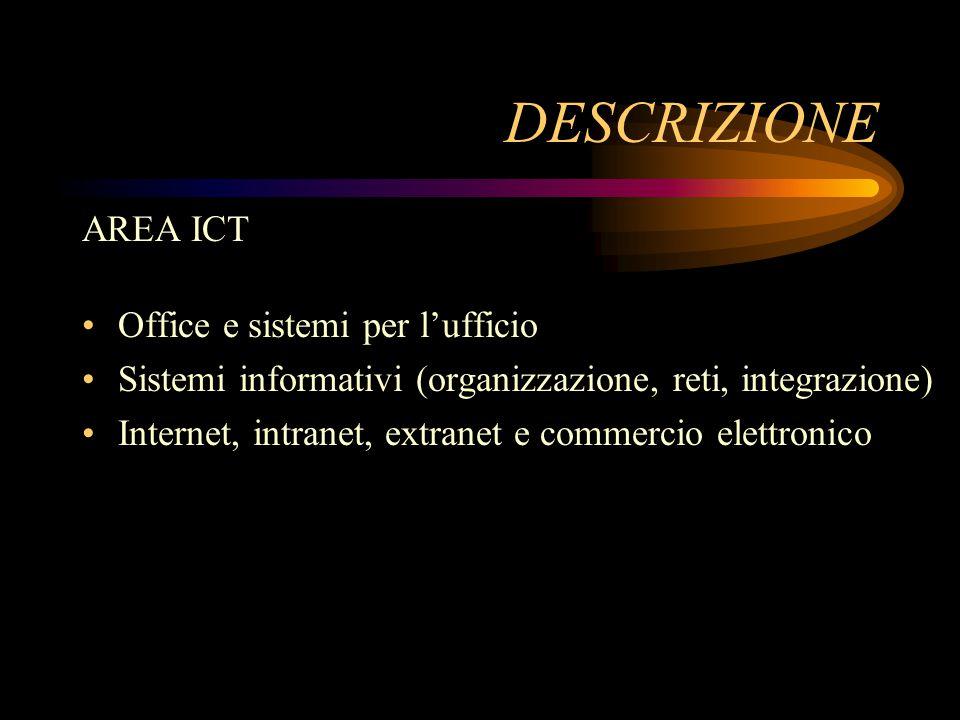 DESCRIZIONE Office e sistemi per l'ufficio Sistemi informativi (organizzazione, reti, integrazione) Internet, intranet, extranet e commercio elettronico AREA ICT