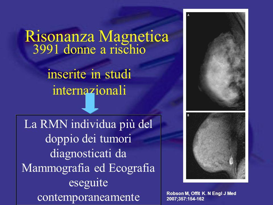 Risonanza Magnetica Robson M, Offit K. N Engl J Med 2007;357:154-162 3991 donne a rischio inserite in studi internazionali La RMN individua più del do