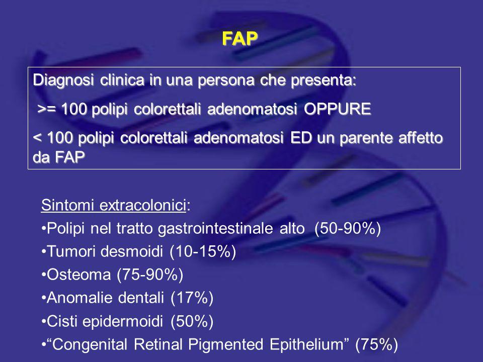 FAP Diagnosi clinica in una persona che presenta: >= 100 polipi colorettali adenomatosi OPPURE >= 100 polipi colorettali adenomatosi OPPURE < 100 poli