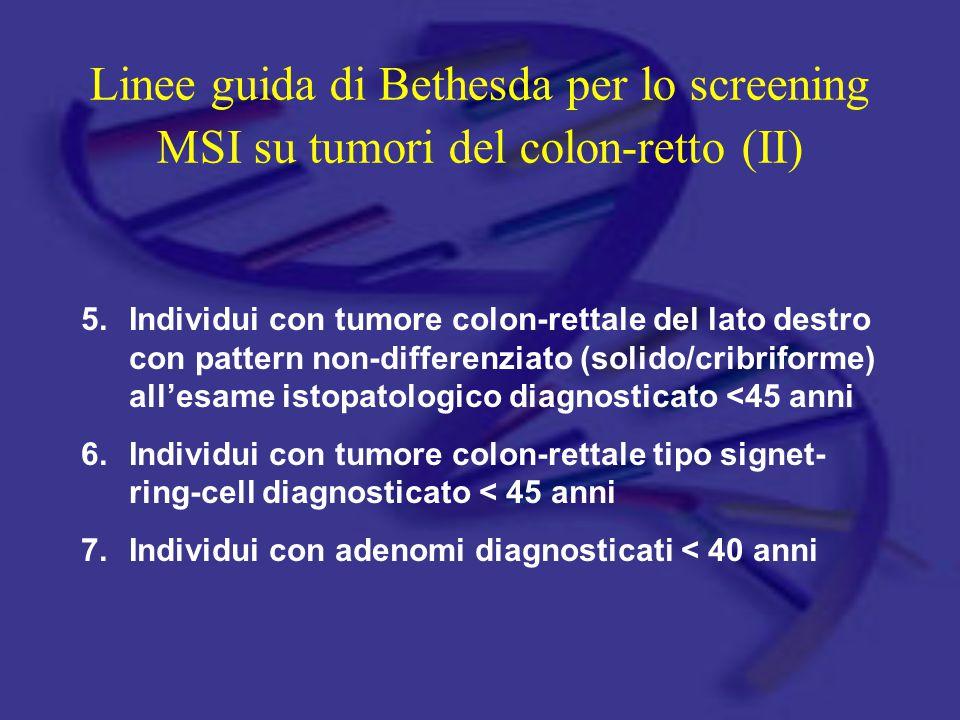 Linee guida di Bethesda per lo screening MSI su tumori del colon-retto (II) 5.Individui con tumore colon-rettale del lato destro con pattern non-diffe