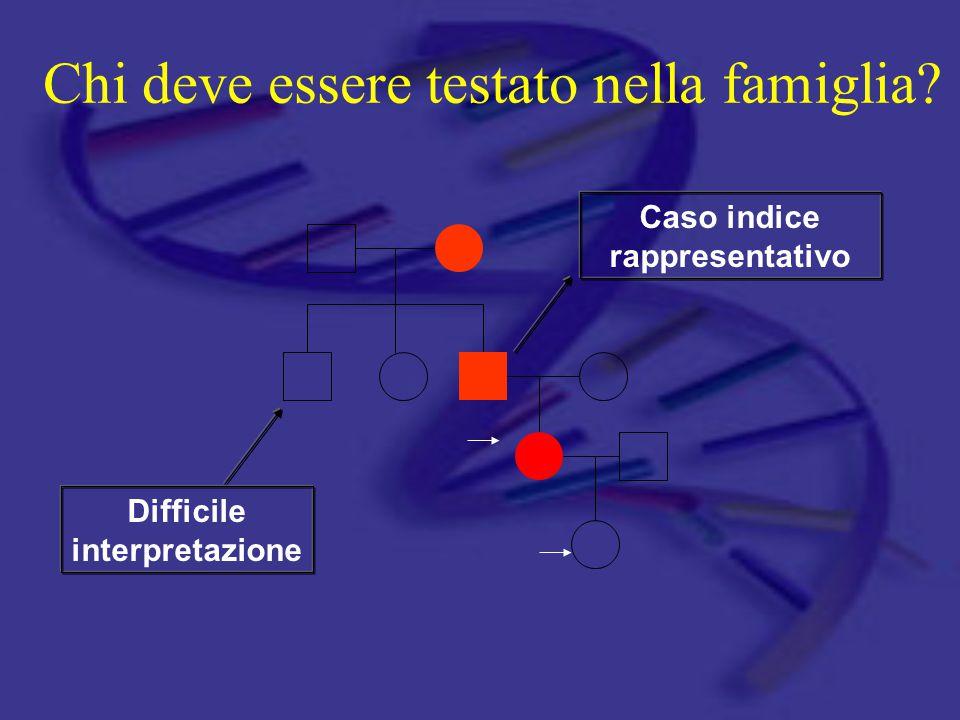 Chi deve essere testato nella famiglia? Difficile interpretazione Caso indice rappresentativo