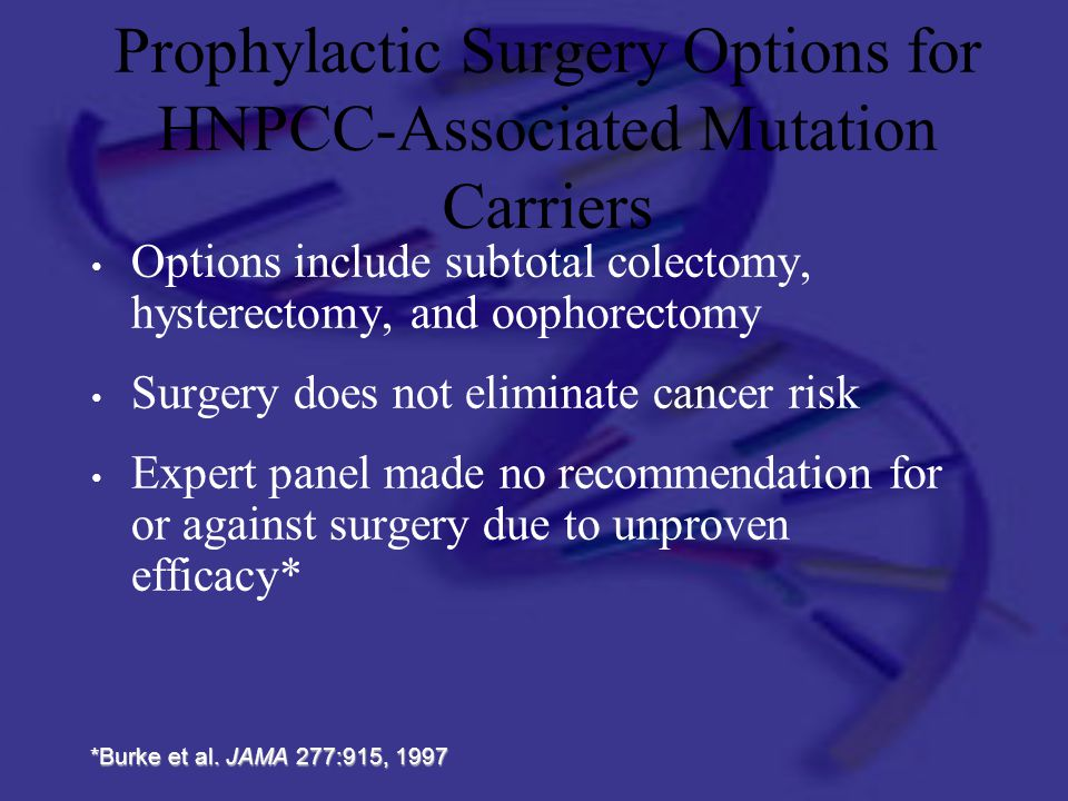 Prophylactic Surgery Options for HNPCC-Associated Mutation Carriers Options include subtotal colectomy, hysterectomy, and oophorectomy Surgery does no
