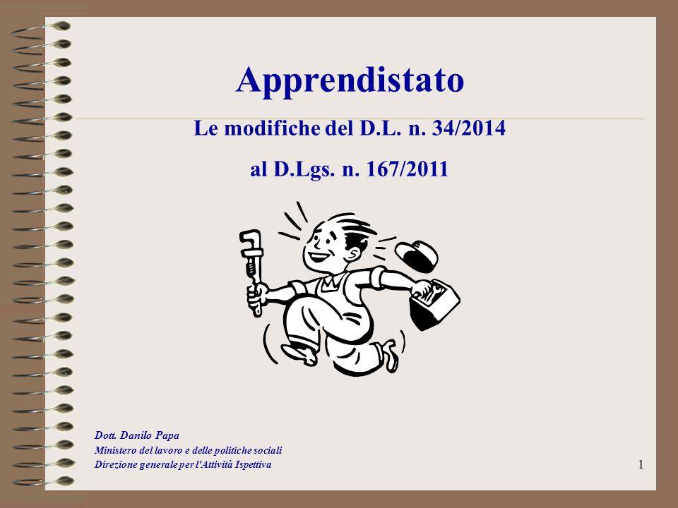 1 Apprendistato Le modifiche del D.L. n. 34/2014 al D.Lgs. n. 167/2011 Dott. Danilo Papa Ministero del lavoro e delle politiche sociali Direzione gene