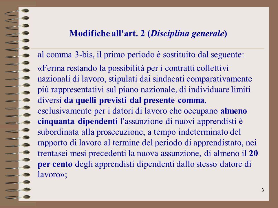 3 Modifiche all'art. 2 (Disciplina generale) al comma 3-bis, il primo periodo è sostituito dal seguente: «Ferma restando la possibilità per i contratt