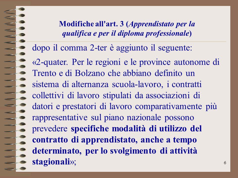 6 Modifiche all'art. 3 (Apprendistato per la qualifica e per il diploma professionale) dopo il comma 2-ter è aggiunto il seguente: «2-quater. Per le r