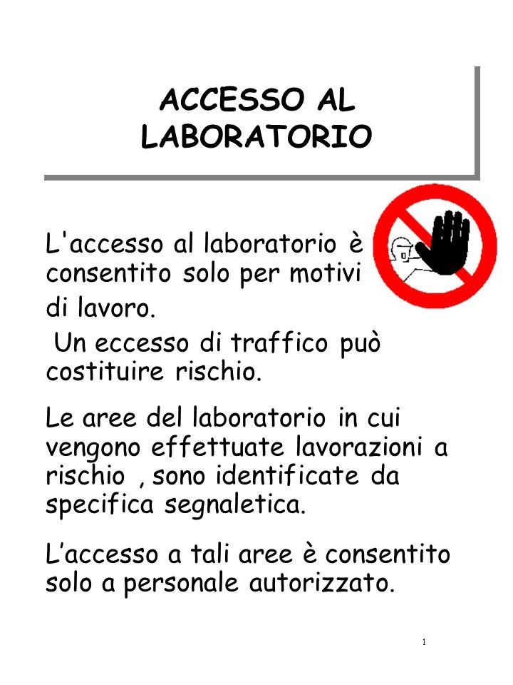 ACCESSO AL LABORATORIO L'accesso al laboratorio è consentito solo per motivi di lavoro. Un eccesso di traffico può costituire rischio. Le aree del lab