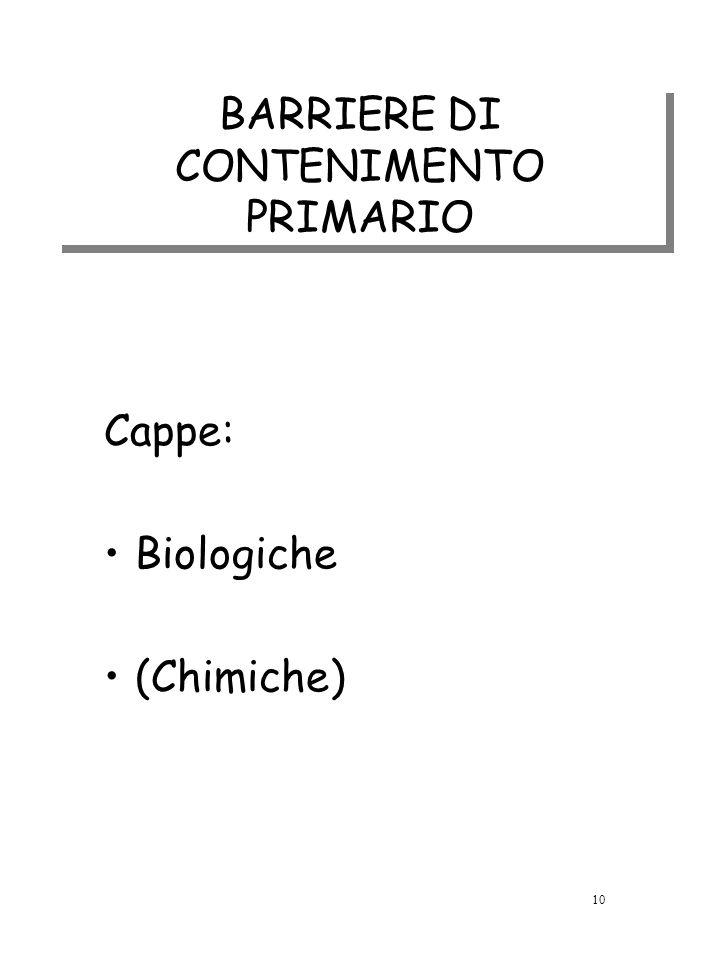 BARRIERE DI CONTENIMENTO PRIMARIO Cappe: Biologiche (Chimiche) 10