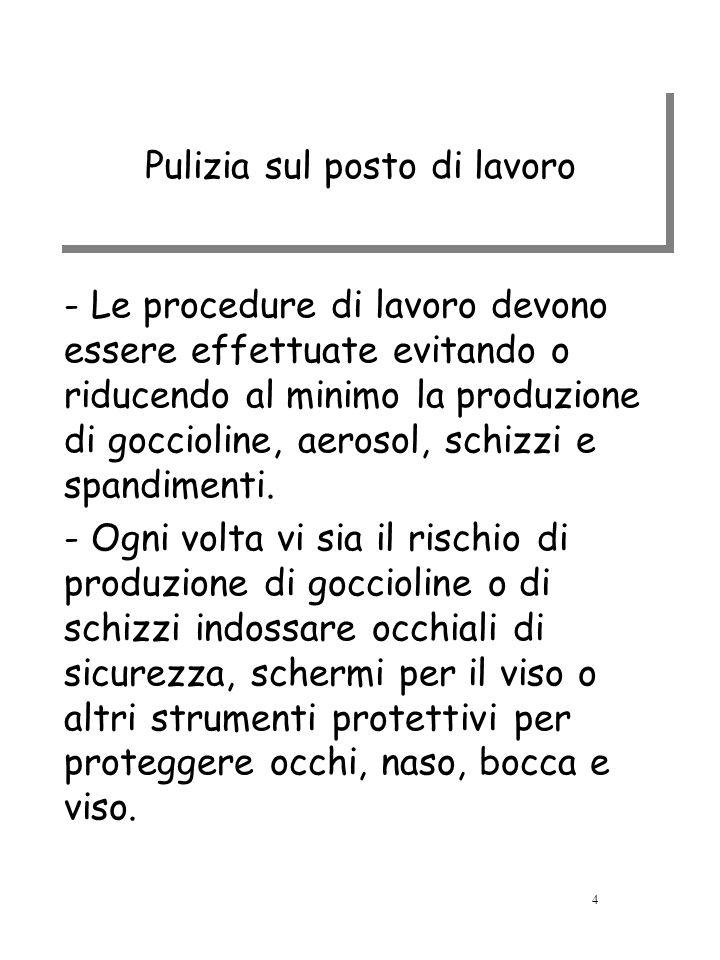 Pulizia sul posto di lavoro - Le procedure di lavoro devono essere effettuate evitando o riducendo al minimo la produzione di goccioline, aerosol, sch