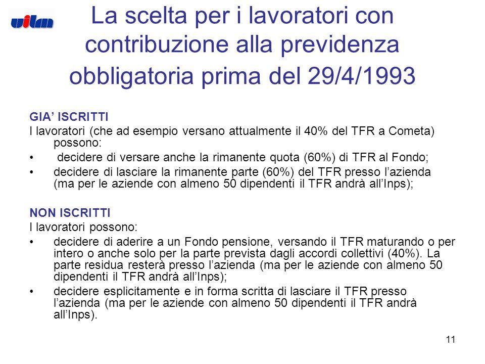 10 La scelta per i lavoratori con prima contribuzione alla previdenza obbligatoria dopo il 28/4/1993 GIA' ISCRITTI Poiché i lavoratori versano attualm