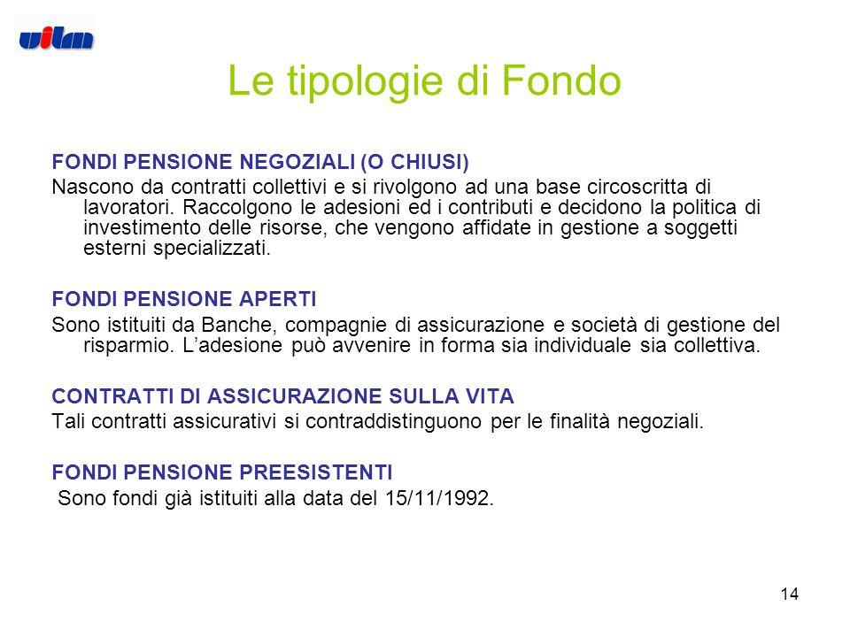 13 I Fondi pensione I Fondi pensione sono forme di previdenza finalizzate alla costituzione di una prestazione pensionistica integrativa, autorizzate