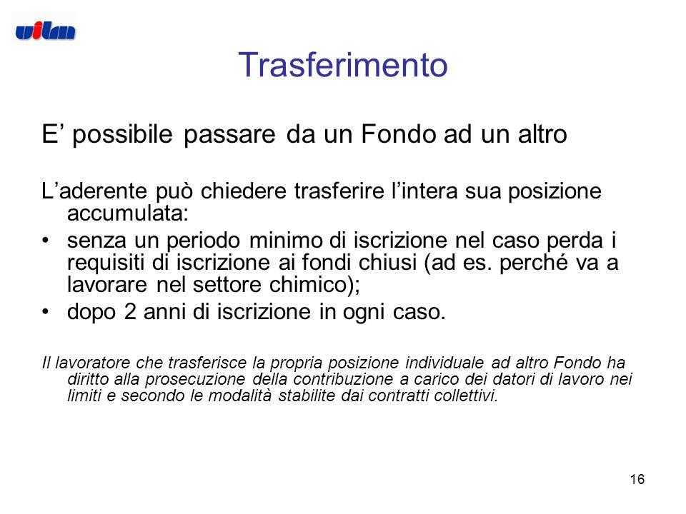 15 Il Finanziamento Il lavoratore aderente al Fondo può contribuire mediante: il TFR futuro; i contributi a proprio carico (i contratti collettivi pos