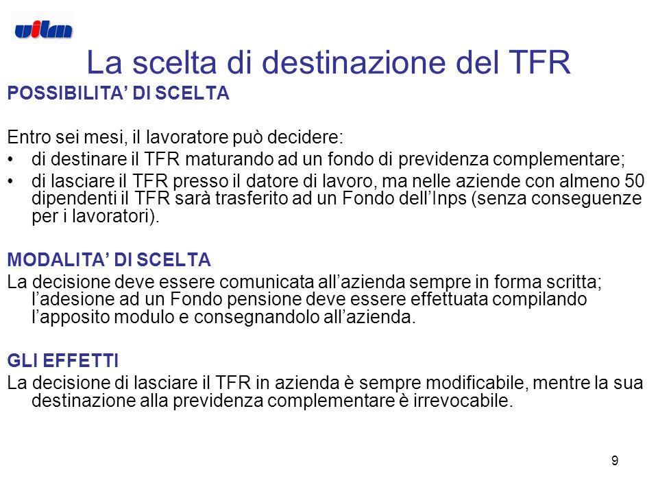 9 La scelta di destinazione del TFR POSSIBILITA' DI SCELTA Entro sei mesi, il lavoratore può decidere: di destinare il TFR maturando ad un fondo di previdenza complementare; di lasciare il TFR presso il datore di lavoro, ma nelle aziende con almeno 50 dipendenti il TFR sarà trasferito ad un Fondo dell'Inps (senza conseguenze per i lavoratori).