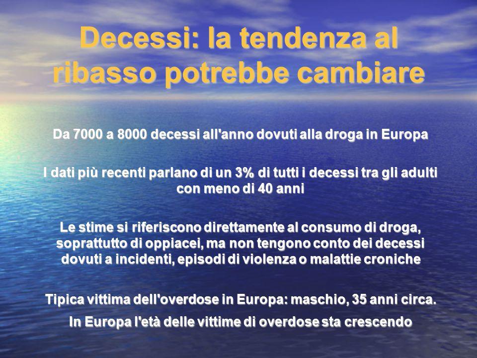 Decessi: la tendenza al ribasso potrebbe cambiare Da 7000 a 8000 decessi all'anno dovuti alla droga in Europa I dati più recenti parlano di un 3% di t