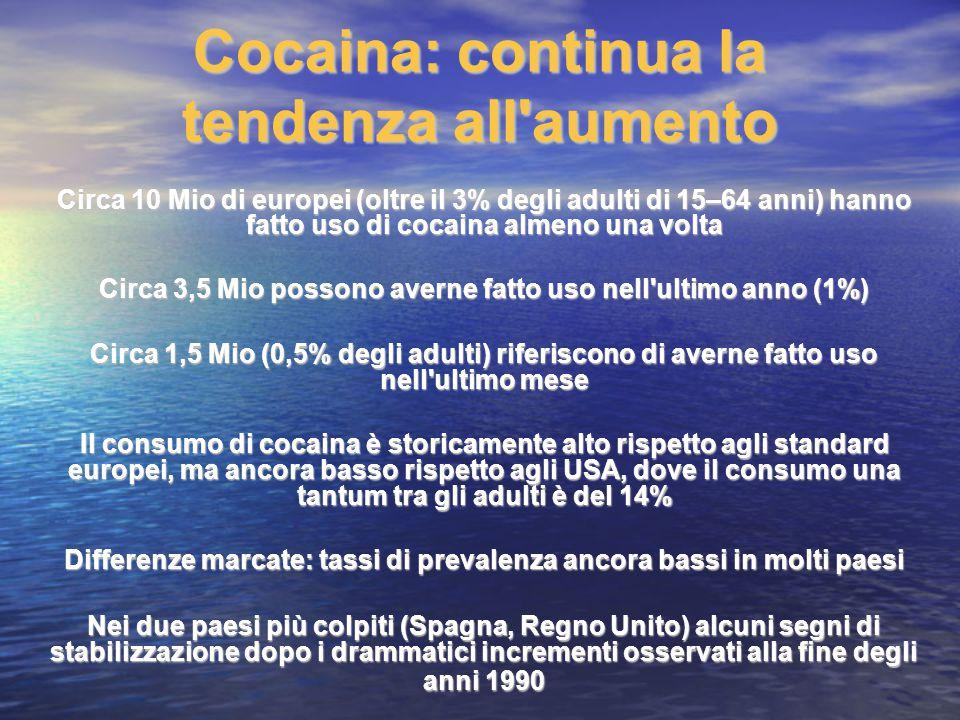 Cocaina: continua la tendenza all'aumento Circa 10 Mio di europei (oltre il 3% degli adulti di 15–64 anni) hanno fatto uso di cocaina almeno una volta