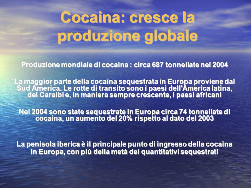 Cocaina: cresce la produzione globale Produzione mondiale di cocaina : circa 687 tonnellate nel 2004 La maggior parte della cocaina sequestrata in Eur