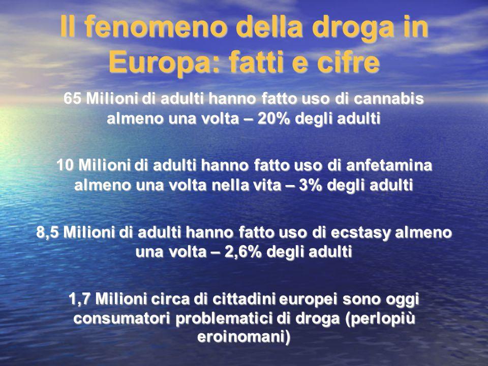Il fenomeno della droga in Europa: fatti e cifre 65 Milioni di adulti hanno fatto uso di cannabis almeno una volta – 20% degli adulti 10 Milioni di ad