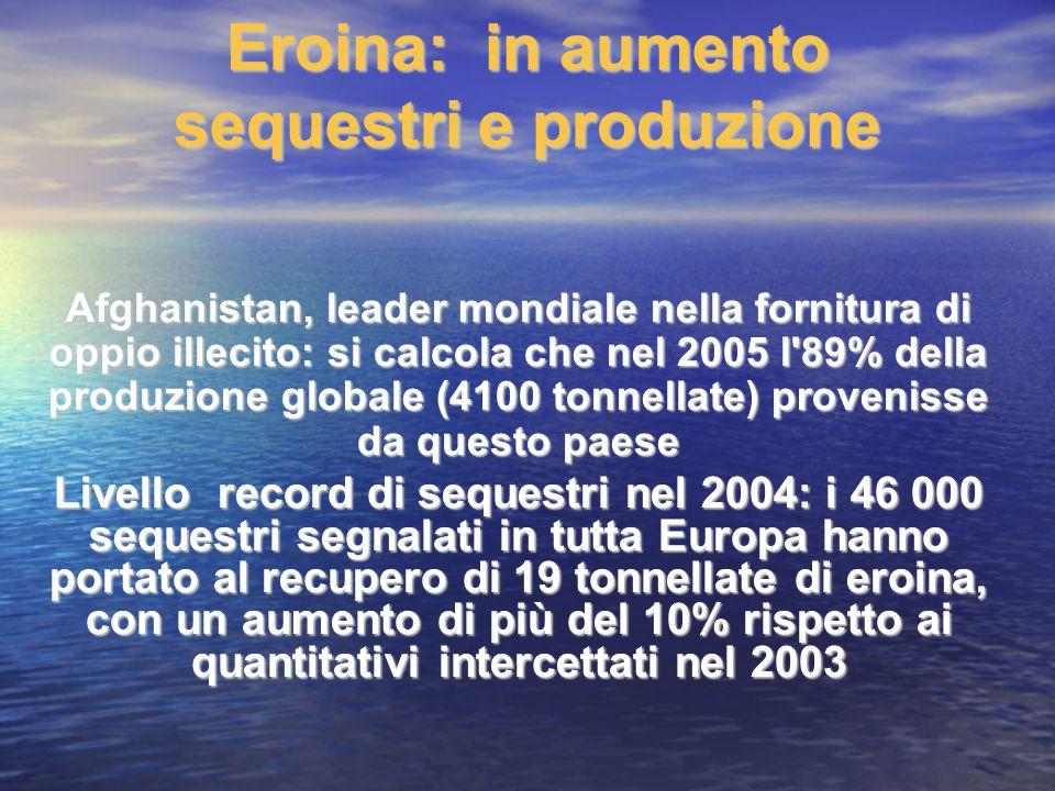 Eroina: in aumento sequestri e produzione Afghanistan, leader mondiale nella fornitura di oppio illecito: si calcola che nel 2005 l'89% della produzio