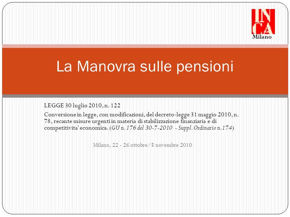 Articolo 12 – comma 2 Pensioni di anzianità medesime modifiche sulle finestre di uscita anche sulle pensioni di anzianità, per i requisiti di età e contribuzione (cosiddetta quota introdotta dalla Legge n.
