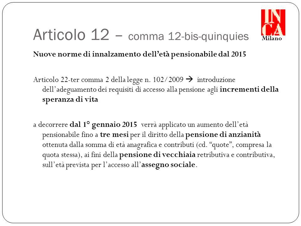 Articolo 12 – comma 12-bis-quinquies Nuove norme di innalzamento dell'età pensionabile dal 2015 Articolo 22-ter comma 2 della legge n.