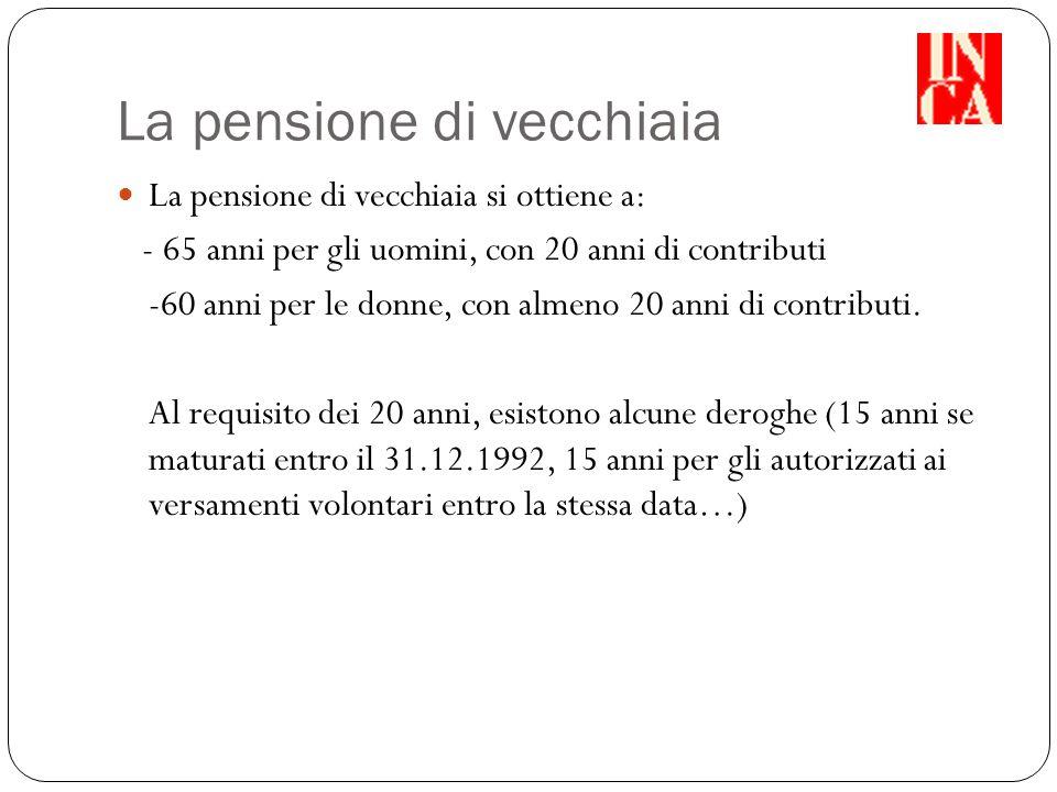 La pensione di vecchiaia La pensione di vecchiaia si ottiene a: - 65 anni per gli uomini, con 20 anni di contributi -60 anni per le donne, con almeno 20 anni di contributi.