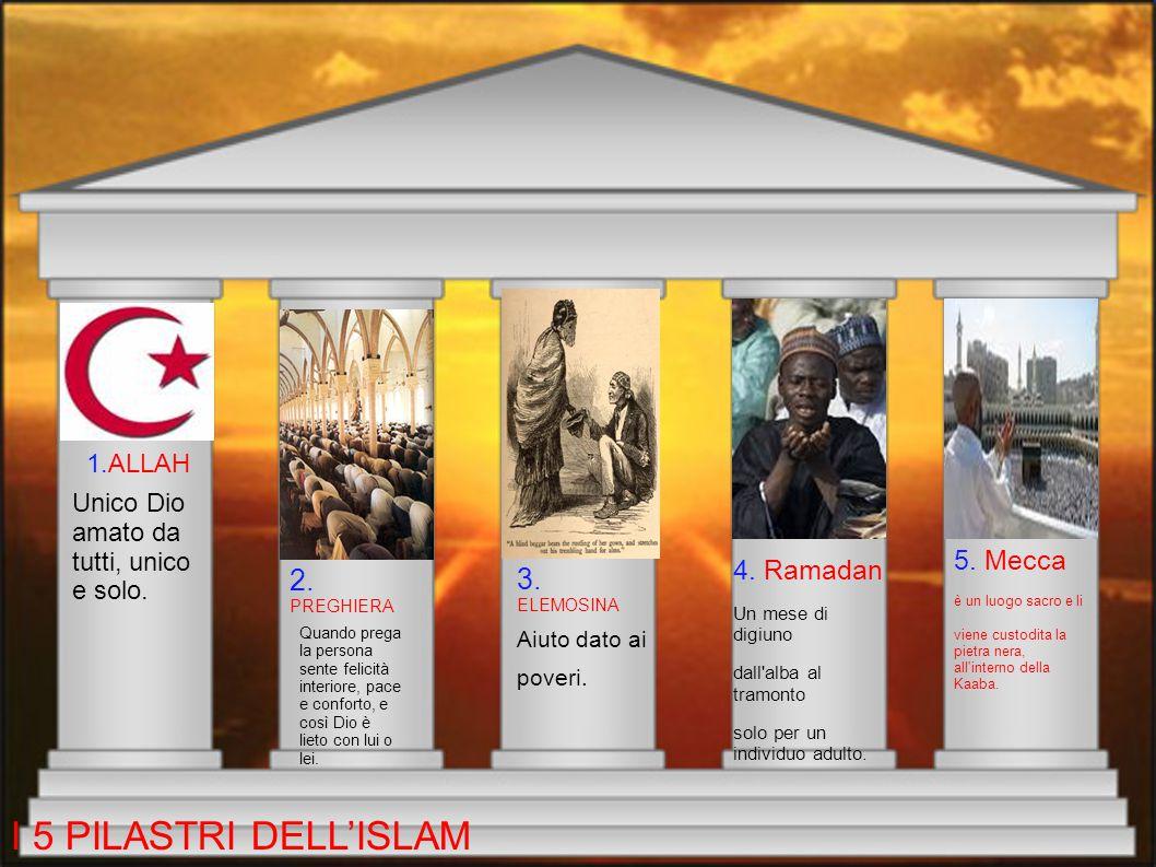 I CINQUE PILASTRI Le regole della religione islamica sono i 5 pilastri. 1.La fede verso ALLAH. 2. L'aiuto verso i più poveri. 3.Il digiuno. 4.Pregare