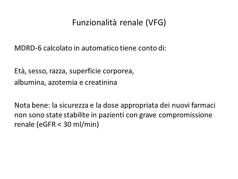 Funzionalità renale (VFG) MDRD-6 calcolato in automatico tiene conto di: Età, sesso, razza, superficie corporea, albumina, azotemia e creatinina Nota