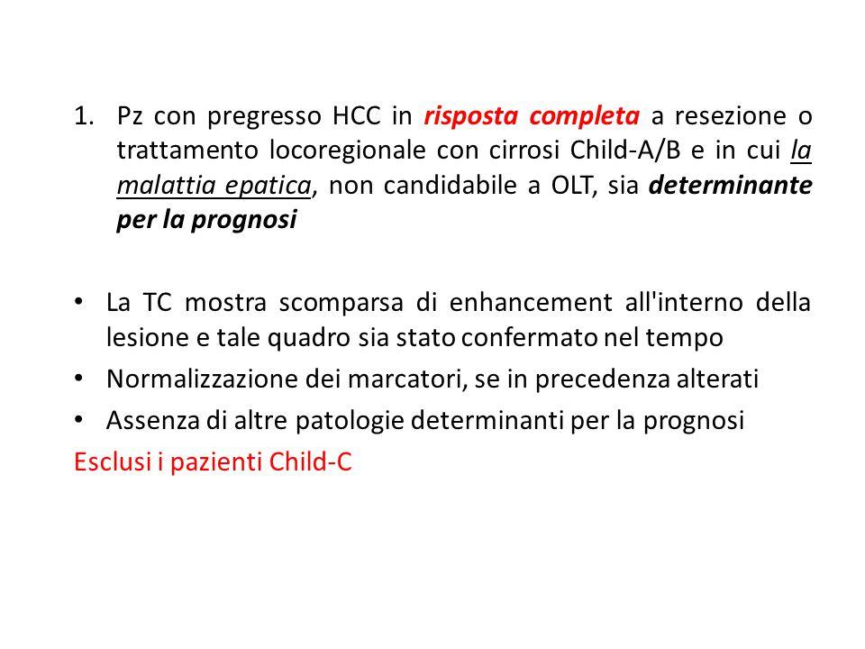 1.Pz con pregresso HCC in risposta completa a resezione o trattamento locoregionale con cirrosi Child-A/B e in cui la malattia epatica, non candidabil