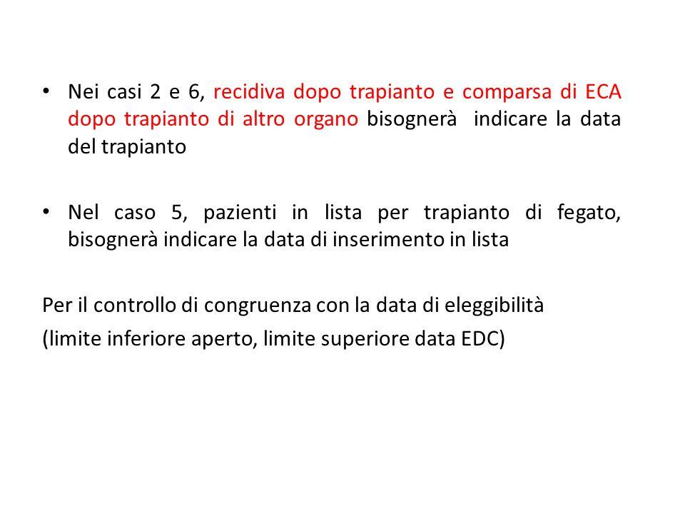 Nei casi 2 e 6, recidiva dopo trapianto e comparsa di ECA dopo trapianto di altro organo bisognerà indicare la data del trapianto Nel caso 5, pazienti