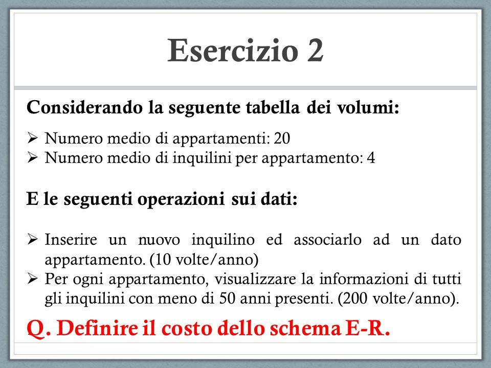 Esercizio 2 Considerando la seguente tabella dei volumi:  Numero medio di appartamenti: 20  Numero medio di inquilini per appartamento: 4 E le segue