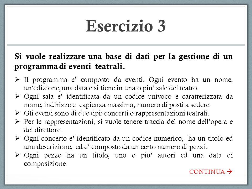 Esercizio 3 Si vuole realizzare una base di dati per la gestione di un programma di eventi teatrali.  Il programma e' composto da eventi. Ogni evento
