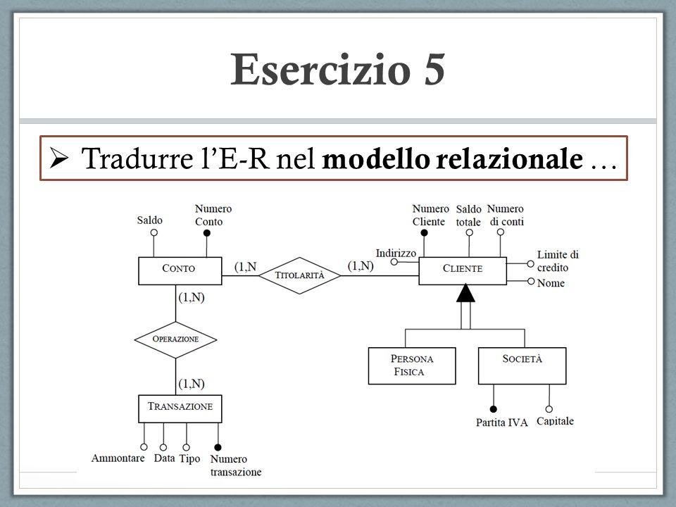 Esercizio 5  Tradurre l'E-R nel modello relazionale …