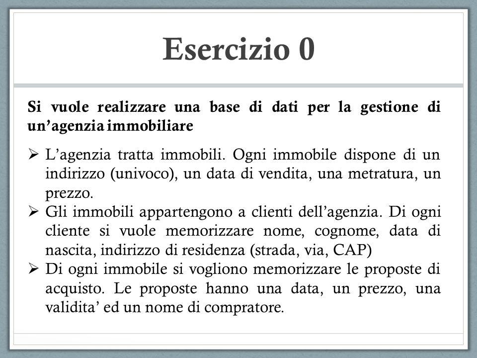 Esercizio 7 PAZIENTE R1 CURA R3 FARMACO R2 MEDICO (0,N) (1,1) (1,N) (0,N) (1,1) (0,N) - 100 Pazienti - 300 Cure (3 in media per Paziente) - 20 Medici (ognuno prescrive in media 15 cure) - 500 Farmaci - Ogni cura e' composta in media da 3 farmaci Nome Cognome NomePrezzo Codice NomeCognome Data Inizio Composizione Reparto Durata  Come cambia la traduzione se si elemina l`attributo Reparto dell`entita' MEDICO?
