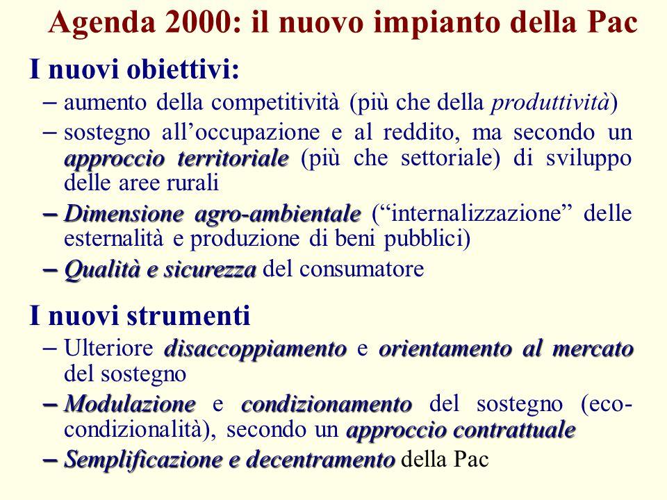 Agenda 2000: il nuovo impianto della Pac I nuovi obiettivi: – aumento della competitività (più che della produttività) approccio territoriale – sosteg
