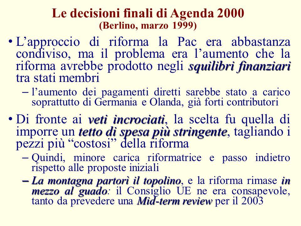 Le decisioni finali di Agenda 2000 (Berlino, marzo 1999) squilibri finanziari L'approccio di riforma la Pac era abbastanza condiviso, ma il problema e