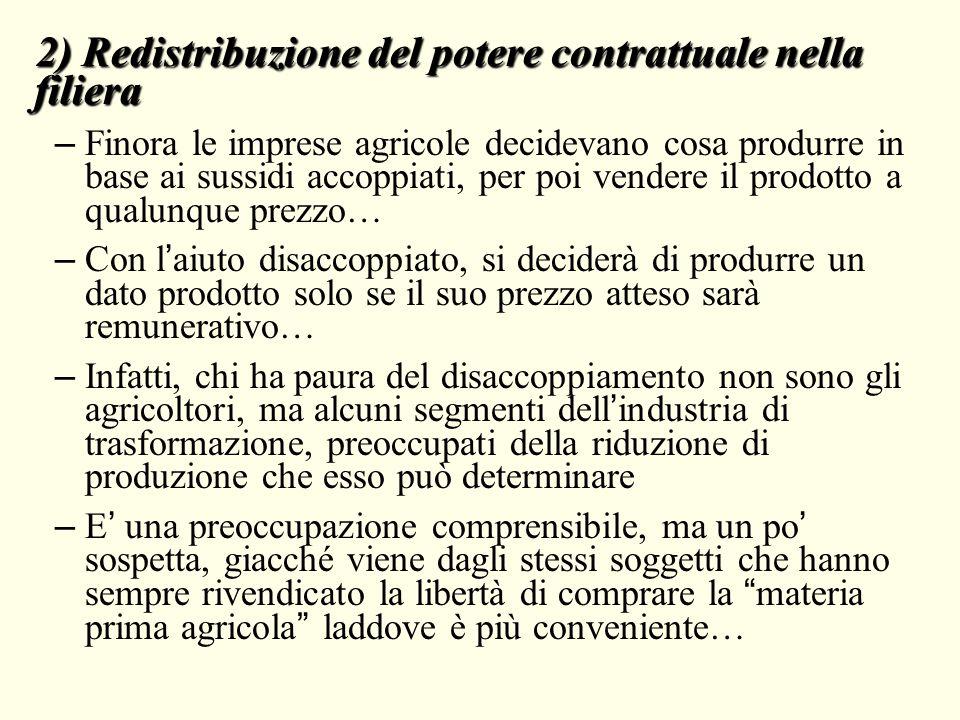 2) Redistribuzione del potere contrattuale nella filiera – Finora le imprese agricole decidevano cosa produrre in base ai sussidi accoppiati, per poi