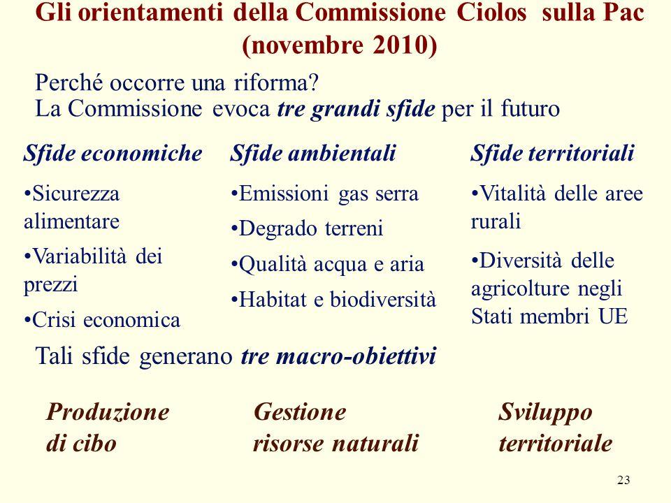 23 Gli orientamenti della Commissione Ciolos sulla Pac (novembre 2010) Sfide economiche Sicurezza alimentare Variabilità dei prezzi Crisi economica Sf