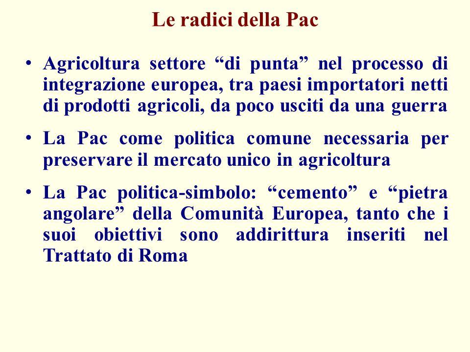 Gli obiettivi della vecchia Pac (Art 39 Trattato di Roma) Sostegno dei redditi della popolazione agricola (dimensione sociale) Aumento della produzione e della produttività, in coerenza ad una concezione intensiva di ammodernamento delle aziende Sicurezza negli approvvigionamenti Stabilità dei prezzi di mercato
