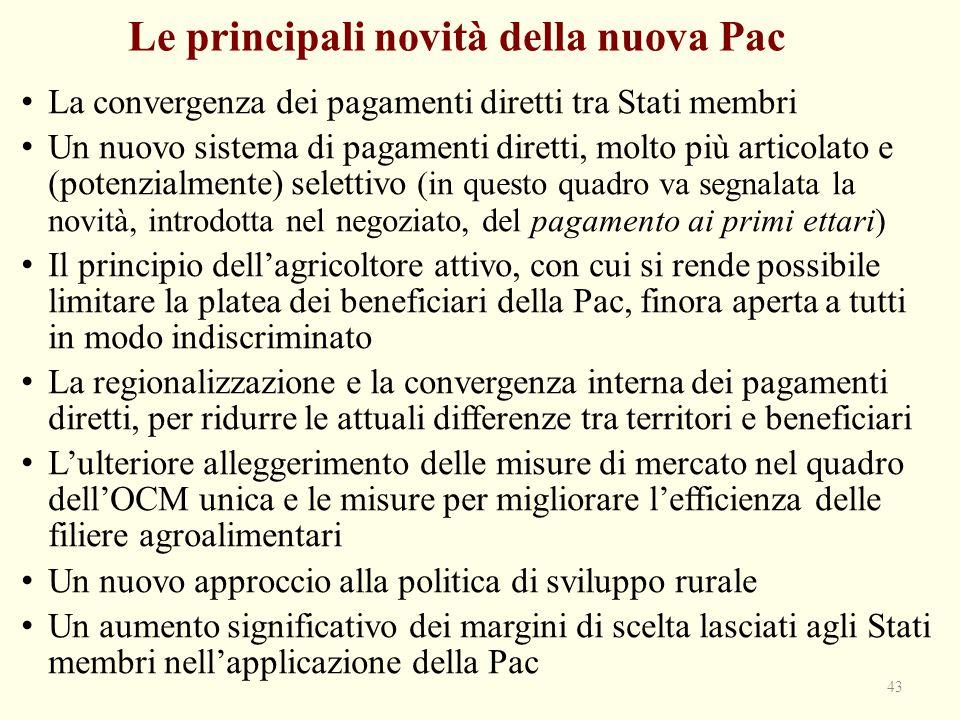Le principali novità della nuova Pac La convergenza dei pagamenti diretti tra Stati membri Un nuovo sistema di pagamenti diretti, molto più articolato