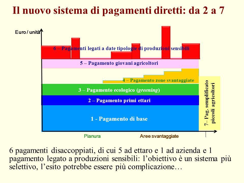 3 – Pagamento ecologico (greening) 1 - Pagamento di base 4 – Pagamento zone svantaggiate PianuraAree svantaggiate 7– Pag. semplificato piccoli agricol