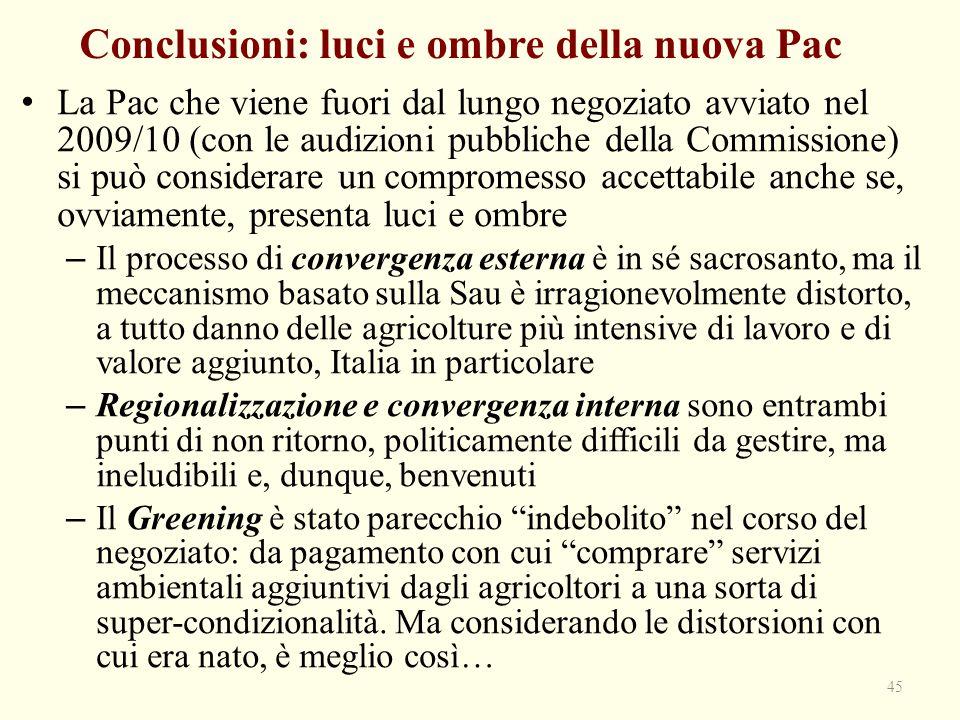 Conclusioni: luci e ombre della nuova Pac La Pac che viene fuori dal lungo negoziato avviato nel 2009/10 (con le audizioni pubbliche della Commissione