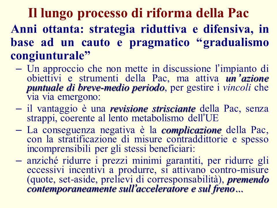 Il lungo processo di riforma della Pac - II 1992: la svolta della riforma Mac Sharry – riduzione dei prezzi di intervento (30%), compensata da pagamenti diretti per ettaro e per capo basati su rese storiche (parzialmente disaccoppiati) – set aside obbligatorio e misure agroambientali di accompagnamento La riforma del 1992 è limitata a seminativi e carne bovina, ma è una rottura nel gradualismo del passato – Si mette in discussione il modello di sostegno accoppiato, sostituendo (in parte) i prezzi minimi garantiti con pagamenti per ettaro – Ma i pagamenti sono compensativi della riduzione dei prezzi, per cui non cambia la distribuzione del sostegno