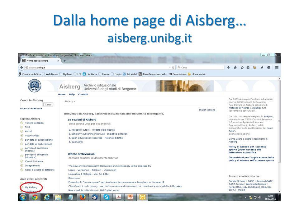 Dalla home page di Aisberg… aisberg.unibg.it