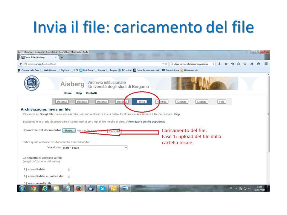 Invia il file: caricamento del file
