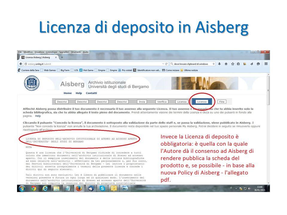 Licenza di deposito in Aisberg