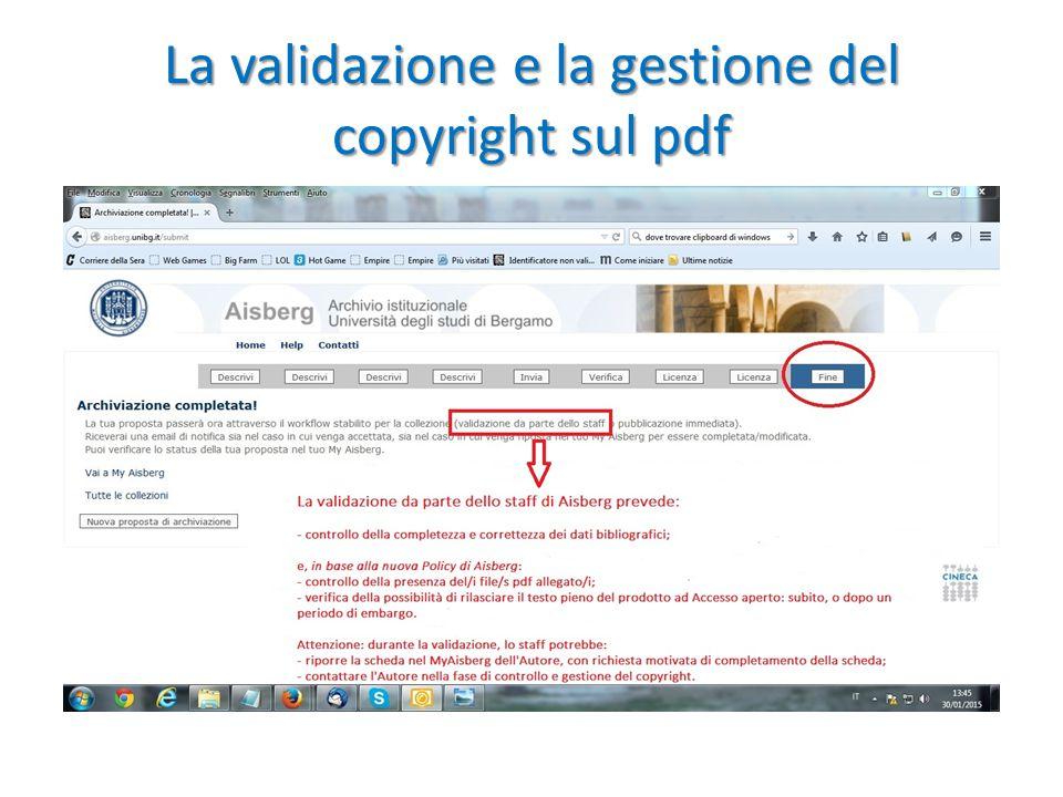 La validazione e la gestione del copyright sul pdf