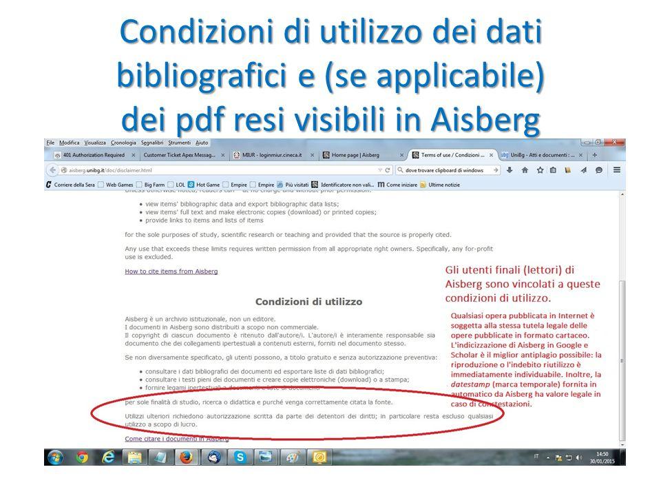 Condizioni di utilizzo dei dati bibliografici e (se applicabile) dei pdf resi visibili in Aisberg