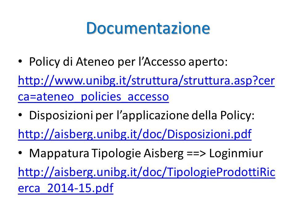 Documentazione Policy di Ateneo per l'Accesso aperto: http://www.unibg.it/struttura/struttura.asp?cer ca=ateneo_policies_accesso Disposizioni per l'applicazione della Policy: http://aisberg.unibg.it/doc/Disposizioni.pdf Mappatura Tipologie Aisberg ==> Loginmiur http://aisberg.unibg.it/doc/TipologieProdottiRic erca_2014-15.pdf