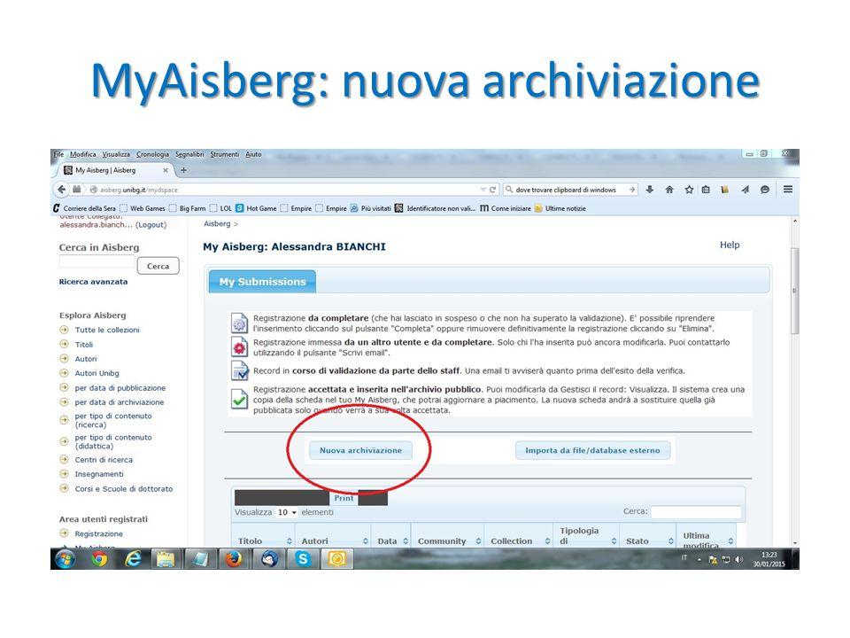 MyAisberg: nuova archiviazione