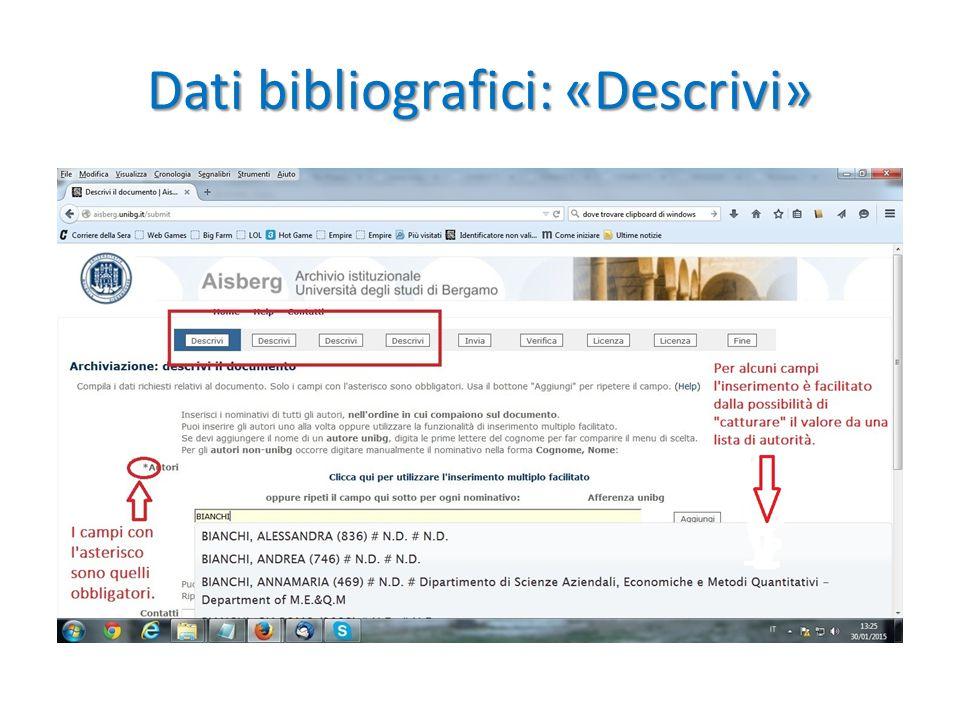 Dati bibliografici: «Descrivi»