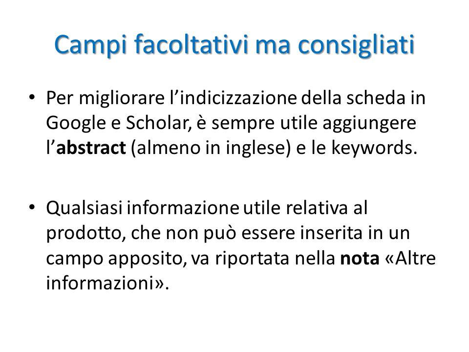 Campi facoltativi ma consigliati Per migliorare l'indicizzazione della scheda in Google e Scholar, è sempre utile aggiungere l'abstract (almeno in inglese) e le keywords.
